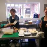Rachel prepares the food